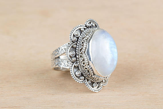 Moonstone Ring, Blue Flash Rainbow Moonstone Ring, Pure 925 Sterling Silver Ring, Healing Ring, Statement Ring, Hippie Ring , Boho Ring