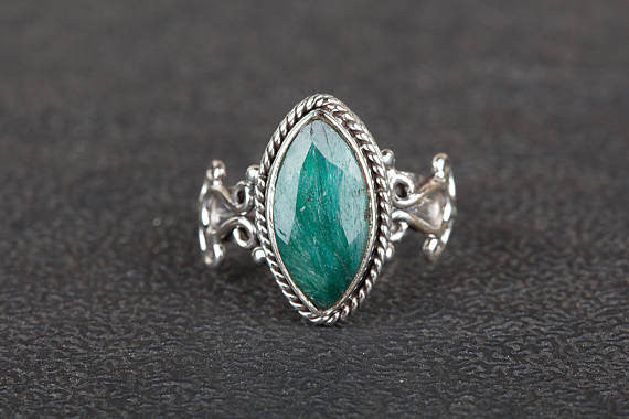 Emerlad Ring, Solitaire Ring, May Birthstone Ring, Pure 925 Sterling Silver Ring, Green Stone Ring, Marquise Shape Stone Ring, Boho Ring