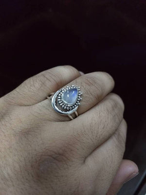 Moonstone Ring, June Birthstone Ring, Blue Flash Moonstone Ring, Sterling Silver Ring, Healing Ring, Hippie Ring , Boho Ring, Gift for her