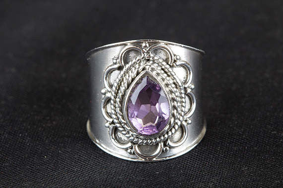 Amethyst Ring, Pure 925 Sterling Silver Ring, Natural Purple Faceted Amethyst Ring, February Birthstone, Healing Ring, Statement Ring