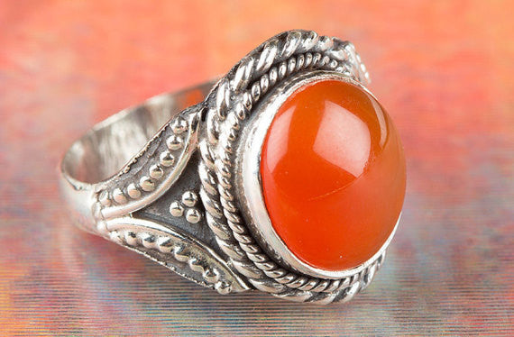Carnelian Ring, Carnelian Silver Ring, Solid Sterling Silver Ring, Orange Gemstone Ring, Boho Ring, Healing Ring, Statement Ring, Gift Ring