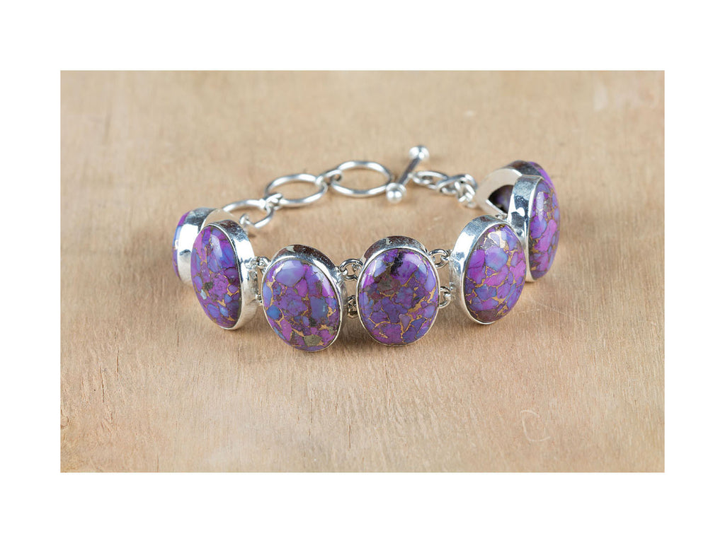 Sensational Handmade Purple Turquoise Bracelet in Sterling Silver