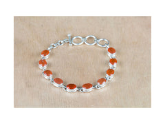 Pure 925 Silver Orange Carnelian Tennis Bracelet