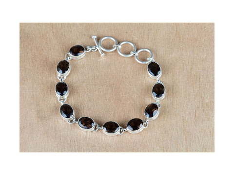Bargain Smoky Quartz Bracelet In Sterling Silver On Sale