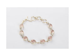 Superb Rose Quartz Bracelet In Sterling Silver