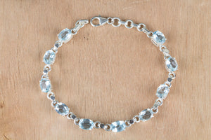 Amazing Blue Topaz Gemstone 925 Sterling Silver Bracelet