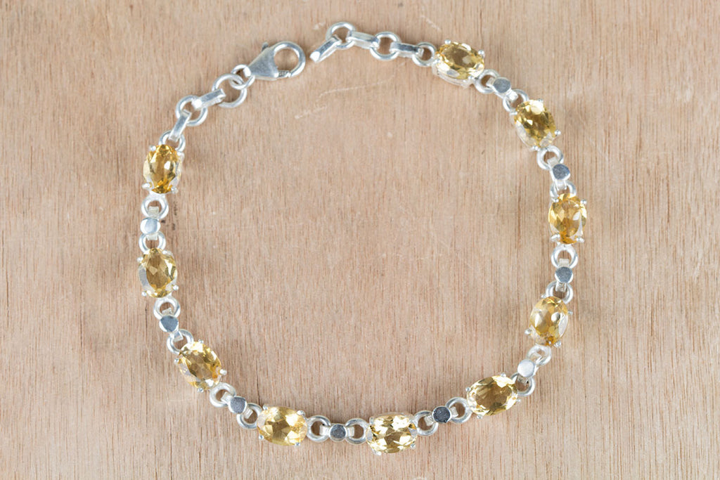 Gorgeous Faceted Citrine Gemstone 925 Silver Bracelet
