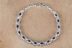 Fantastic Faceted Amethyst Gemstone 925 Silver Bracelet