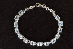 Wonderful Blue Topaz Gemstone 925 Silver Bracelet