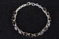 Awesome Faceted Smoky Quartz Gemstone 925 Silver Bracelet