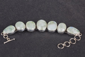 Amazing Green Rainbow Moonstone Gemstone 925 Silver Bracelet