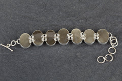 Gorgeous Pink Rainbow Moonstone Gemstone 925 Silver Bracelet