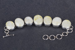 Lovely Yellow Rainbow Moonstone Gemstone 925 Silver Bracelet