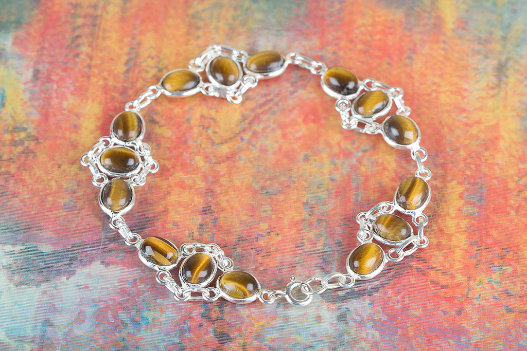 Unique Tiger Eye Gemstone 925 Silver Bracelet
