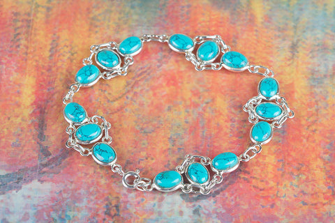 Awesome Turquoise Gemstone 925 Silver Bracelet