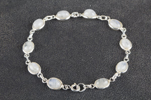 Charming Rainbow Moonstone Gemstone 925 Silver Bracelet