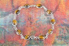 Awesome Tiger Eye Gemstone 925 Silver Bracelet