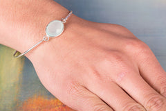 Faceted Aqua Chalcedony Gemstone 925 Silver Bangle