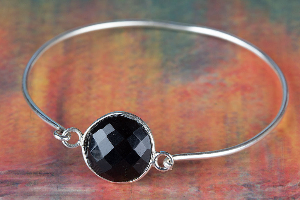 Lovely Faceted Black Onyx Gemstone 925 Silver Bangle