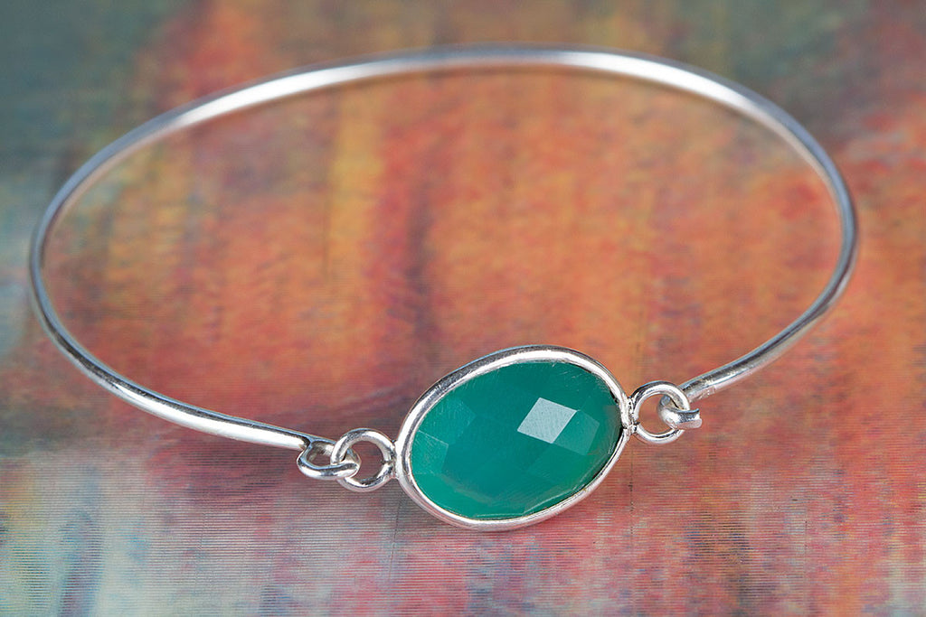 Faceted Green Onyx Gemstone 925 Silver Bangle