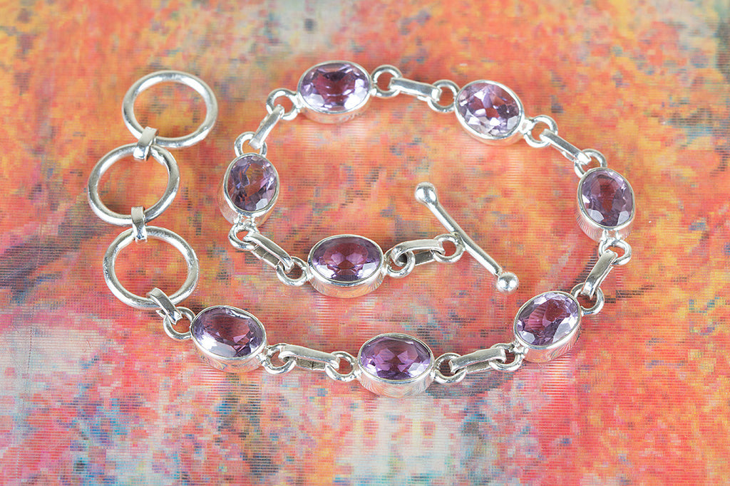 Chunky Sterling Silver Faceted Amethyst Bracelet