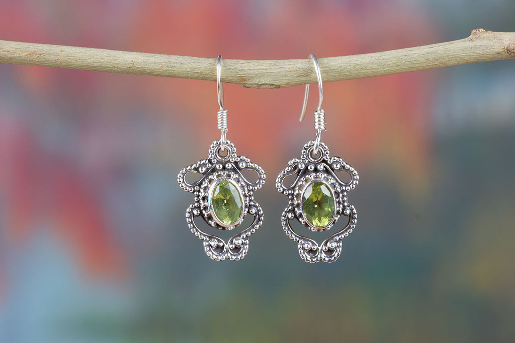 Charming Sterling Silver And Peridot Earrings