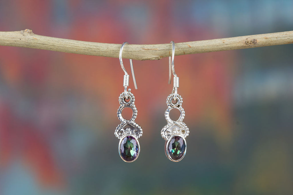 Amazing Mystic Topaz Earrings In Sterling Silver