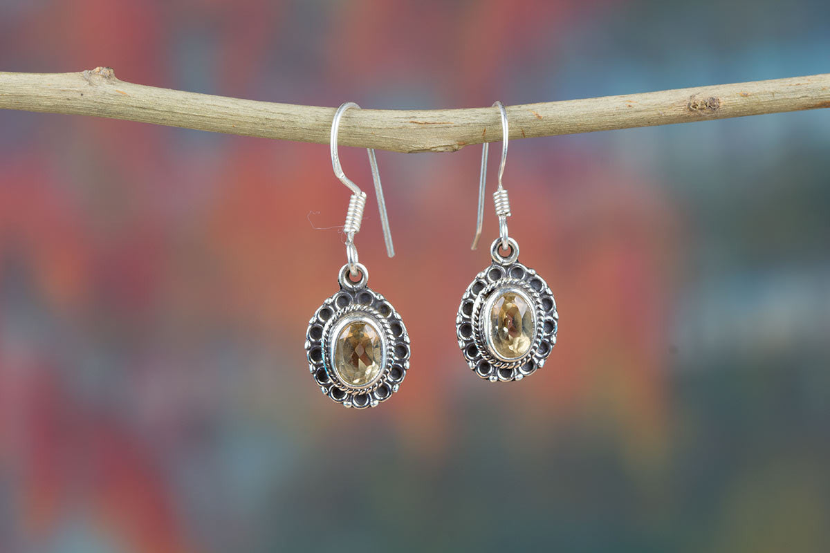 Natural Brazilain Citrine 925 Silver Earrings