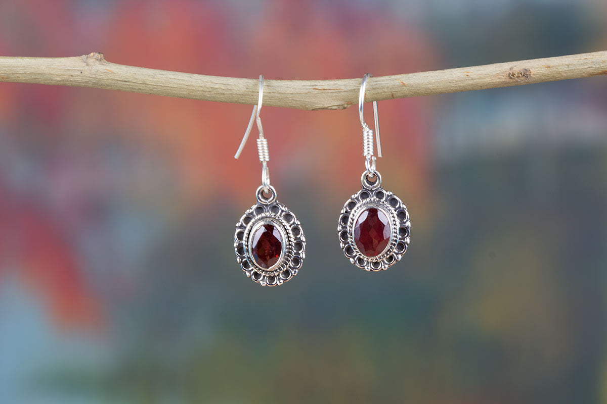 Stunning Faceted Garnet Earrings In Sterling Silver