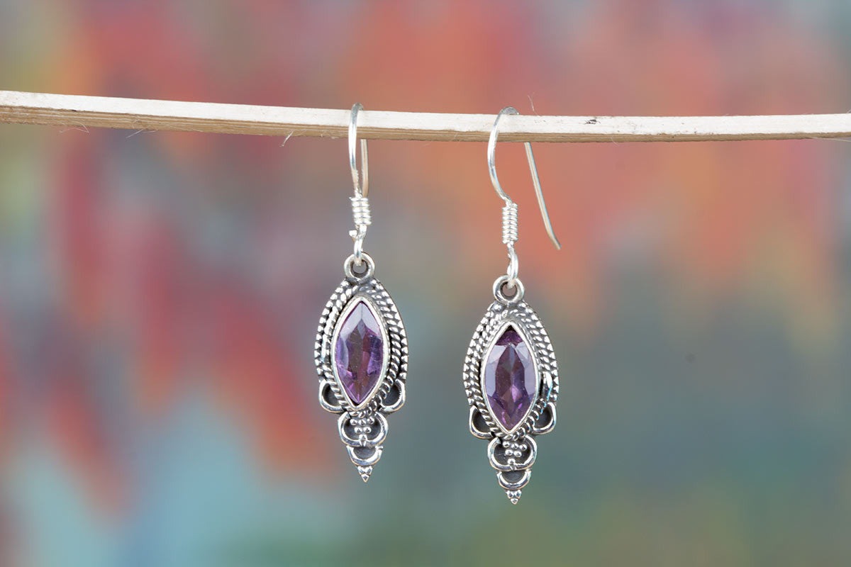 Sensational Handmade Earrings With Amethyst Gemstone