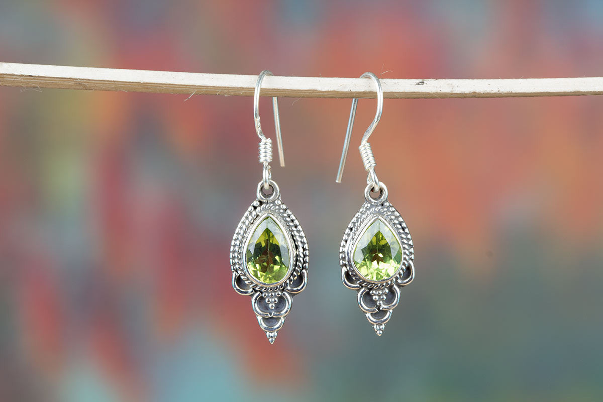 Superb Peridot Silver Earrings For Sale