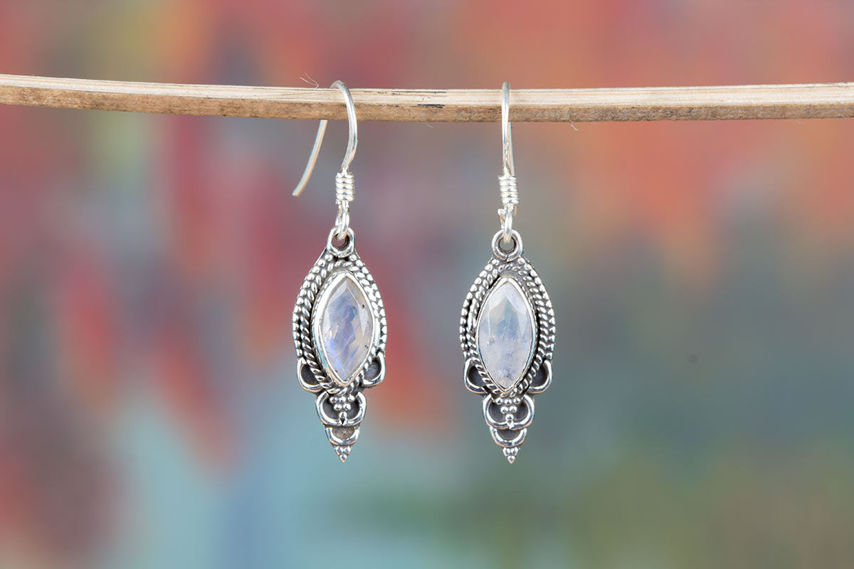 Remarkable Faceted Rainbow Moonstone Earrings In Sterling Silver