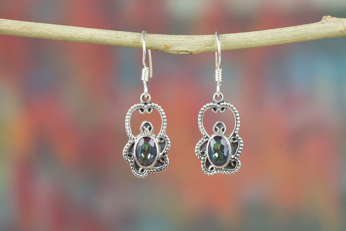 Pure Sterling Silver Mystic Topaz Jewelry Earrings