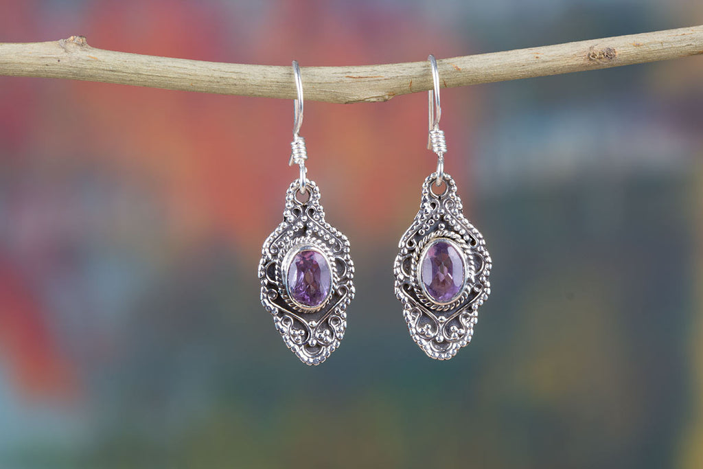 Buy Genuine Amethyst Earrings In Sterling Silver