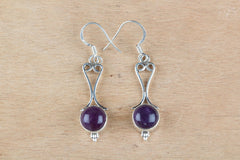 Authentic Silver Amethyst Earrings In Purple Colour