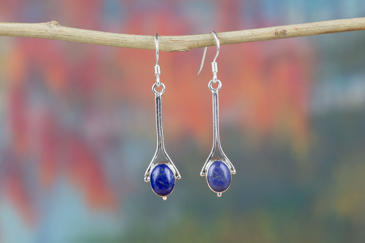Natural Lapis Lazuli Sterling Silver Earrings