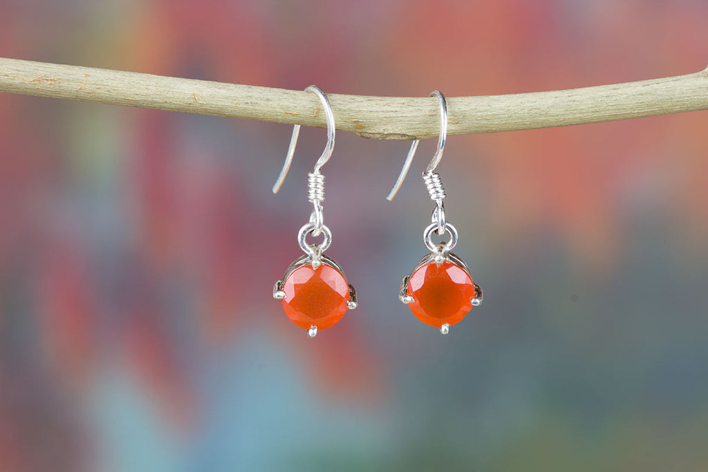 Simply Awesome Orange Carnelian Earrings In Sterling Silver