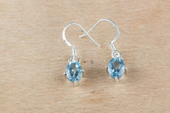 Awesome Blue Topaz Sterling Silver Earrings