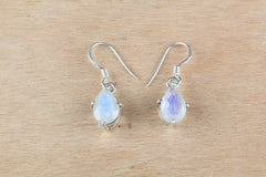 Amazing Rainbow Moonstone Earrings In Sterling Silver