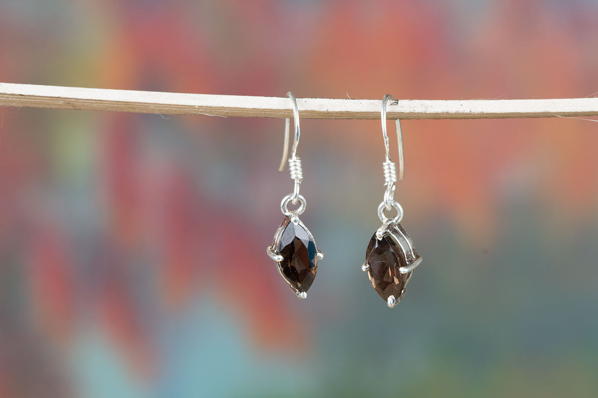 Genuine Brown Smoky Quartz Earrings In Sterling Silver
