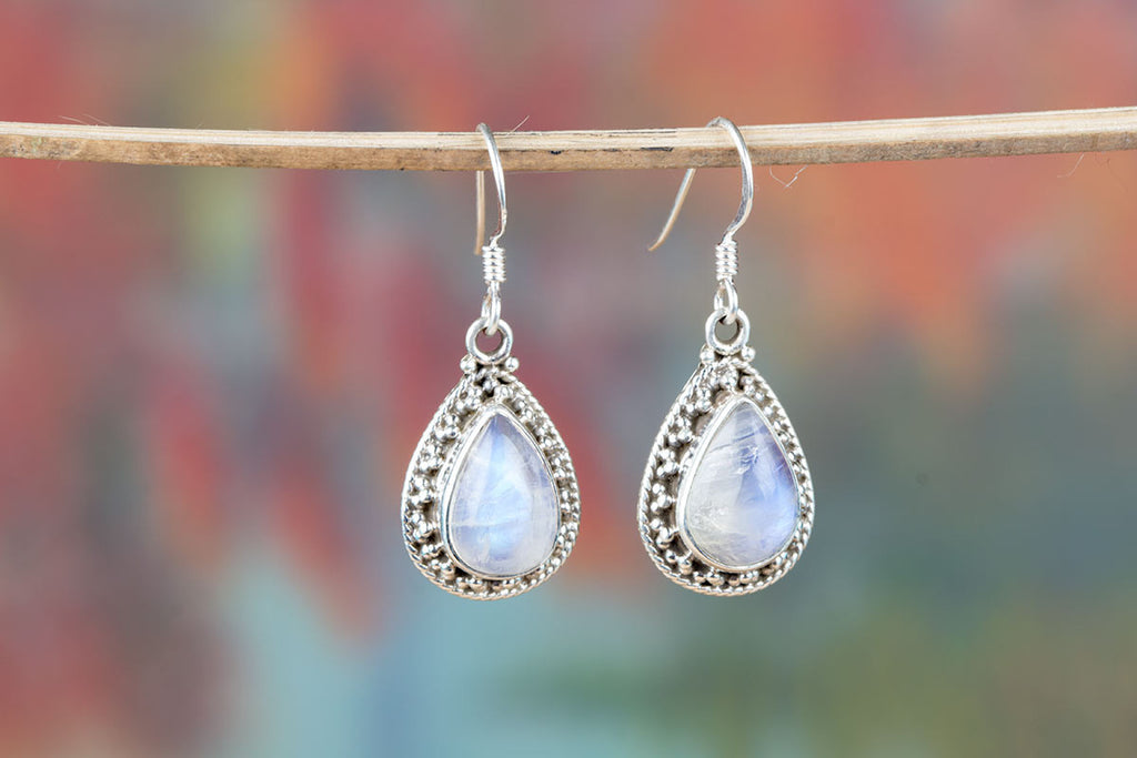 Buy White Moonstone Earrings In Sterling Silver