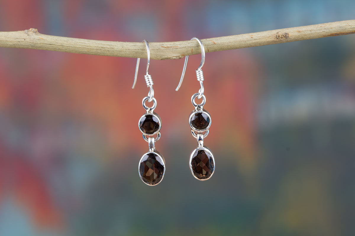 Charming Smoky Quartz Earrings In Sterling Silver