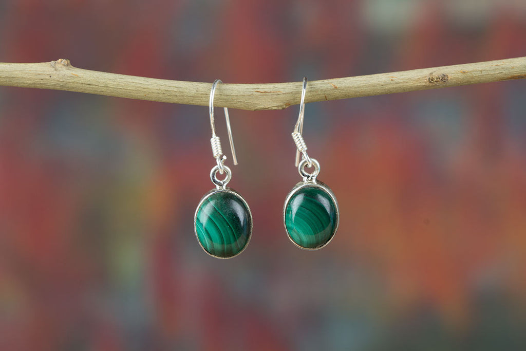 Chunky Malachite Earrings In Sterling Silver