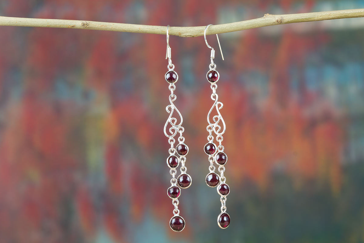 Grapes Shape Garnet Sterling Silver Earrings