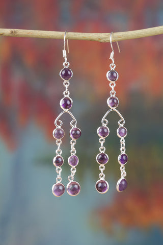 100% Genuine Amethyst Earrings In Sterling Silver