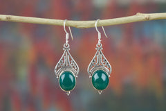 Copy of Authentic Green Onyx Sterling Silver Earrings