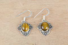 Natural Tiger Eye Earrings In Sterling Silver