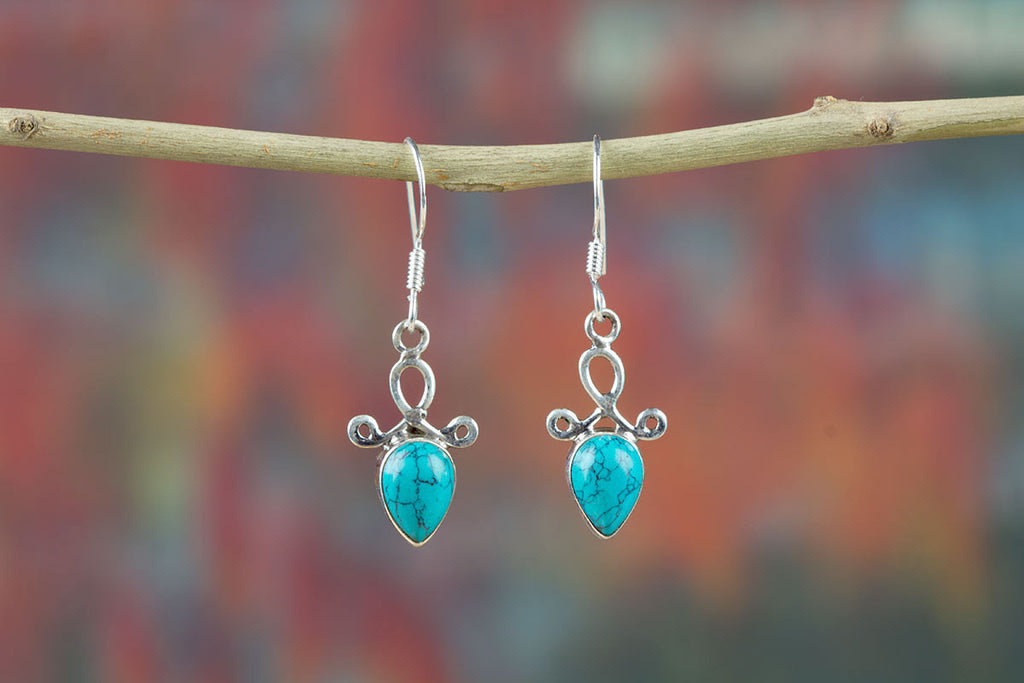 Amazing Turquoise Sterling Silver Jewelry Earrings