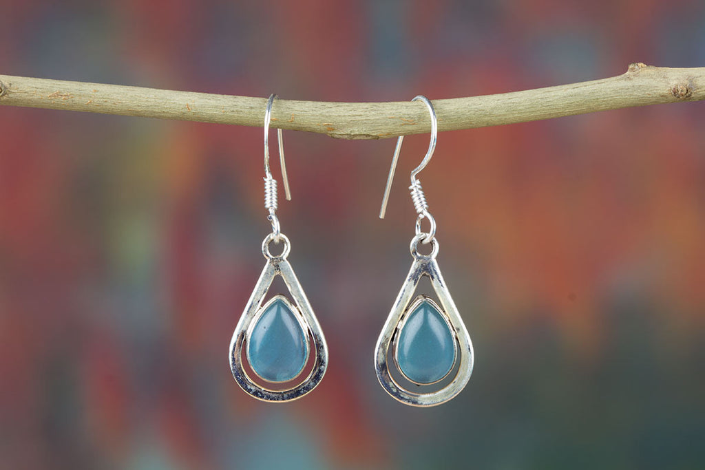 Amazing Aqua Chalcedony Earrings For Sale