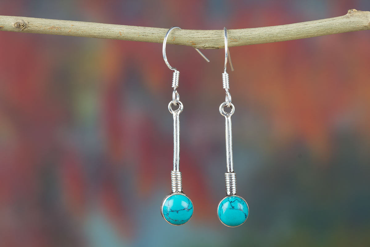 New Turquoise Earrings In Sterling Silver